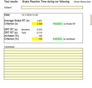 Brake reaction time test