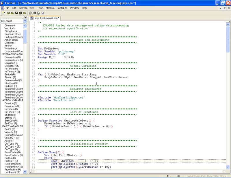 research simulator script language